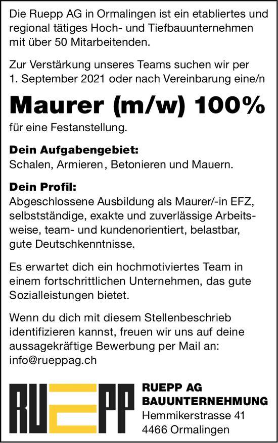 Maurer (m/w) 100%, Ruepp AG Bauunternehmung, Ormalingen, gesucht