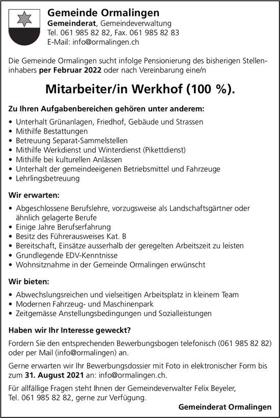 Mitarbeiter/in Werkhof (100 %), Gemeinde Ormalingen, gesucht