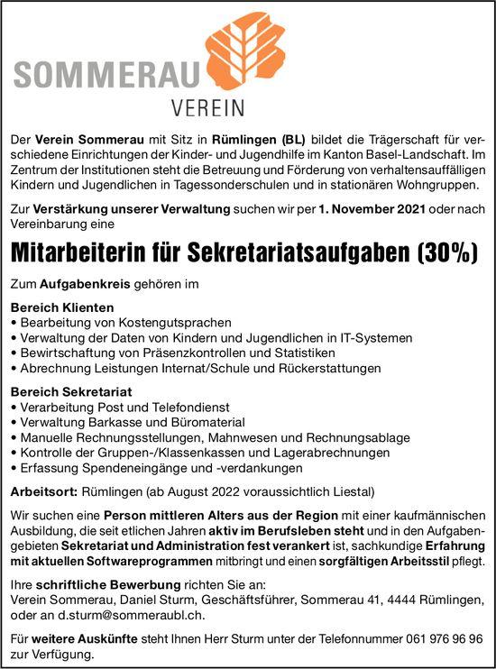 Mitarbeiterin für Sekretariatsaufgaben (30%), Verein Sommerau, Rümlingen, gesucht