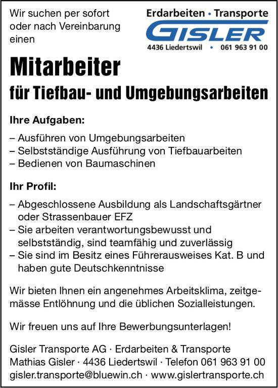 Mitarbeiter für Tiefbau- und Umgebungsarbeiten, Gisler Transporte AG, Liedertswil, gesucht