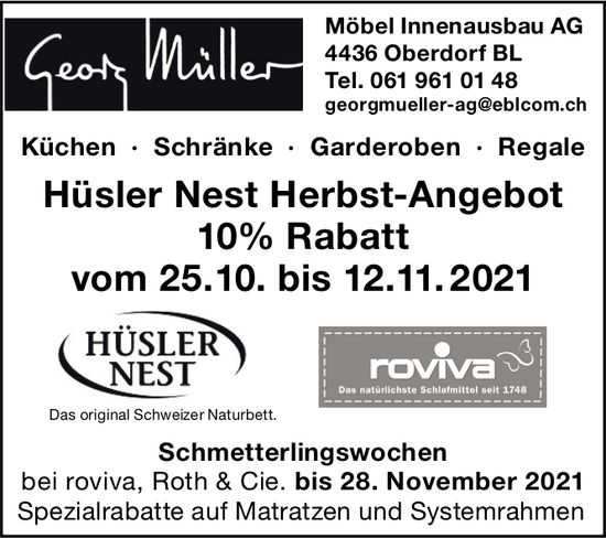 Georg Müller Möbel Innenausbau AG, Oberdorf BL - Hüsler Nest Herbst-Angebot 10% Rabatt