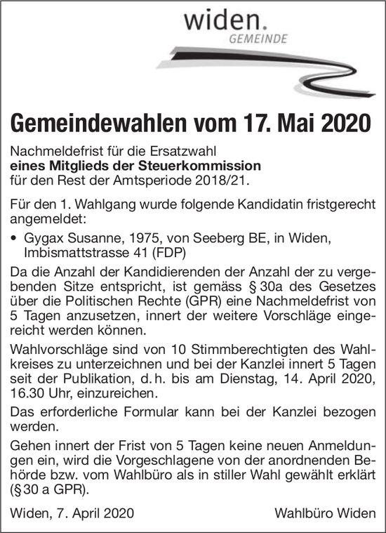 Gemeindewahlen Widen Steuerkommission