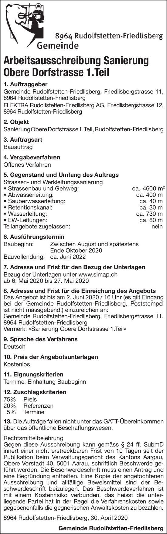 Arbeitsausschreibung Sanierung Obere Dorfstrasse 1.Teil