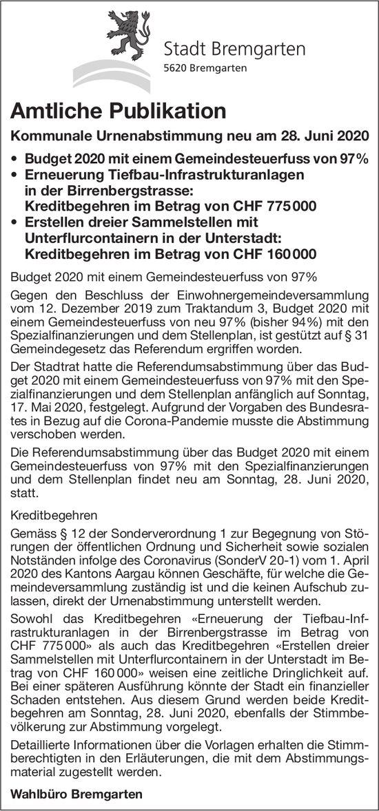 Stadt Bremgarten - Amtliche Publikation