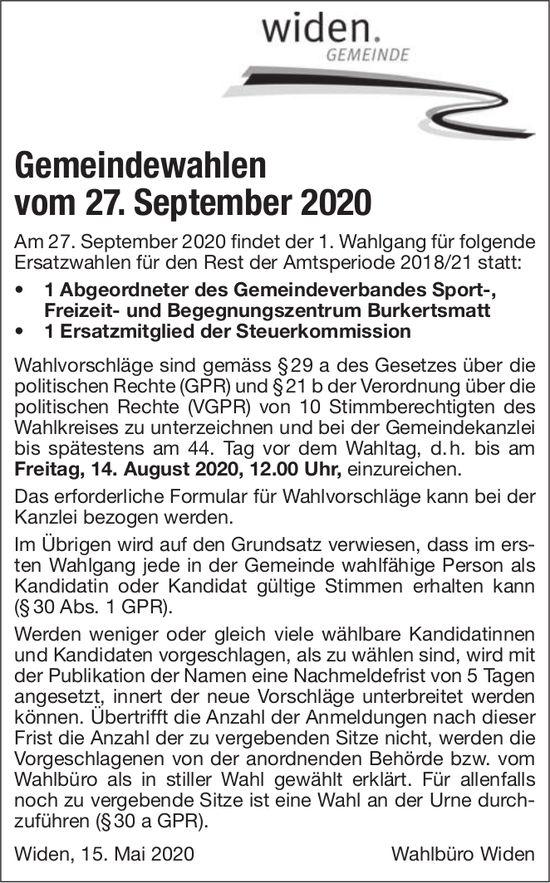 Gemeinde Widen - Gemeindewahlen vom 27. September 2020