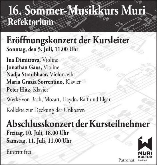 Eröffnungskonzert Sommer-Musikkurs Muri am 5. Juli