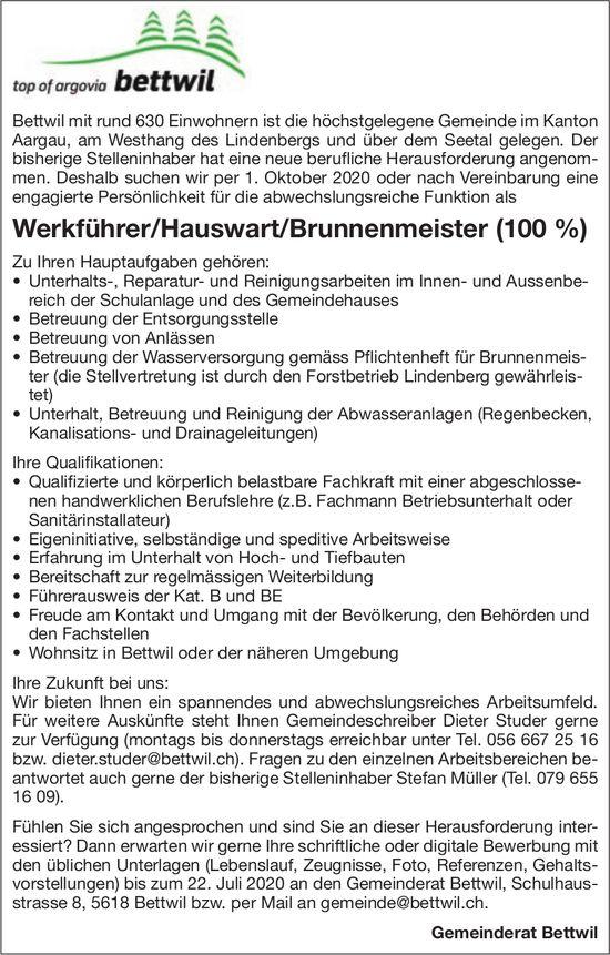 Werkführer/Hauswart/Brunnenmeister (100 %) gesucht