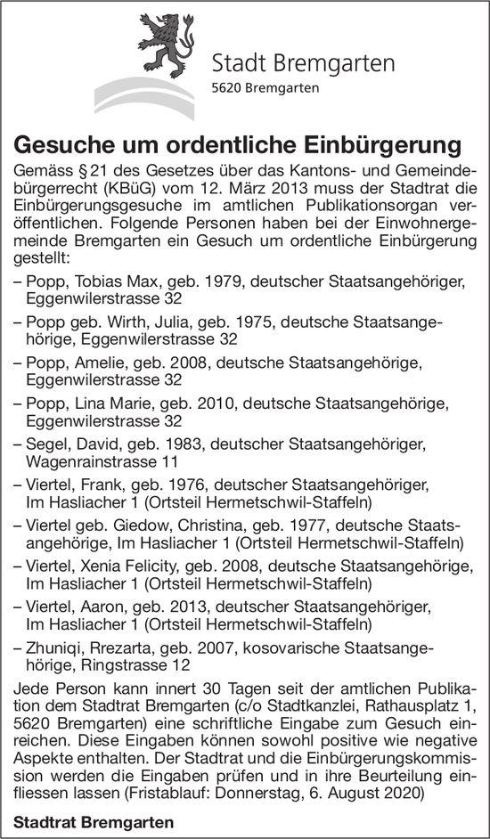 Gesuche um ordentliche Einbürgerung - Stadt Bremgarten