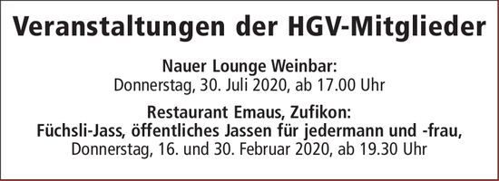 Veranstaltungen der HGV-Mitglieder