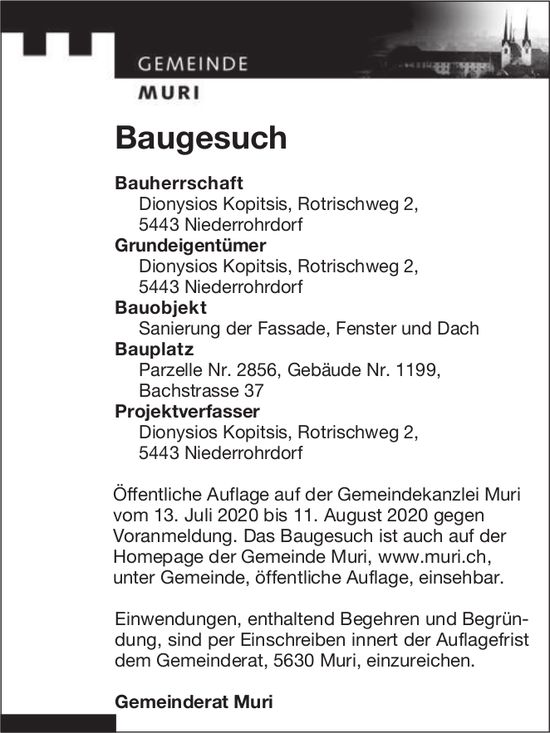 Gemeinde Muri - Baugesuch