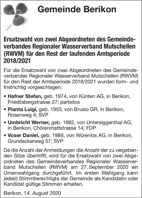 Gemeinde Berikon, Berikon - Ersatzwahl von zwei Abgeordneten