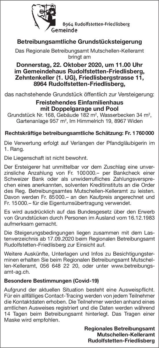 Rudolfstetten - Betreibungsamtliche Grundstücksteigerung Donnerstag,  22. Oktober 2020