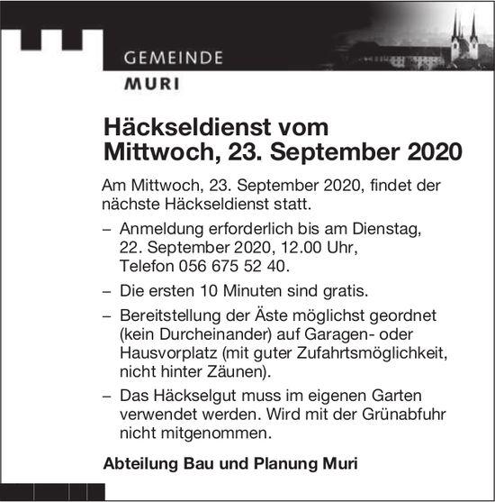 Gemeinde Muri - Häckseldienst am 23. September