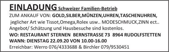 Ankauf von Gold, Silber und Münzen am 22. September in Rudolfstetten
