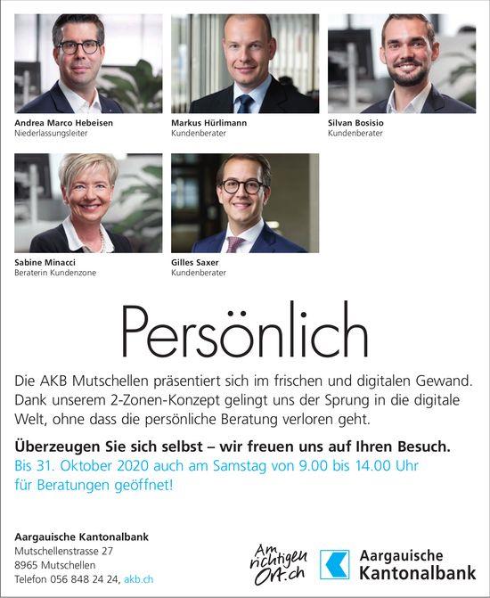 Aargauer Kantonalbank Mutschellen - Persönlich