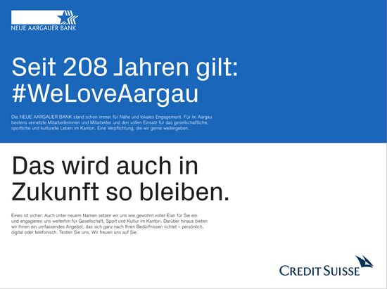 Seit 208 Jahren gilt: WeLoveAargau - Das wird auch in Zukunft so bleiben