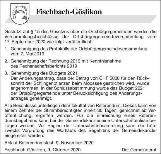Fischbach-Göslikon - Beschlüsse der Ortsbürgergemeindeversammlung