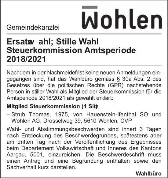 Gemeinde Wohlen - Ersatzwahl Steuerkommission