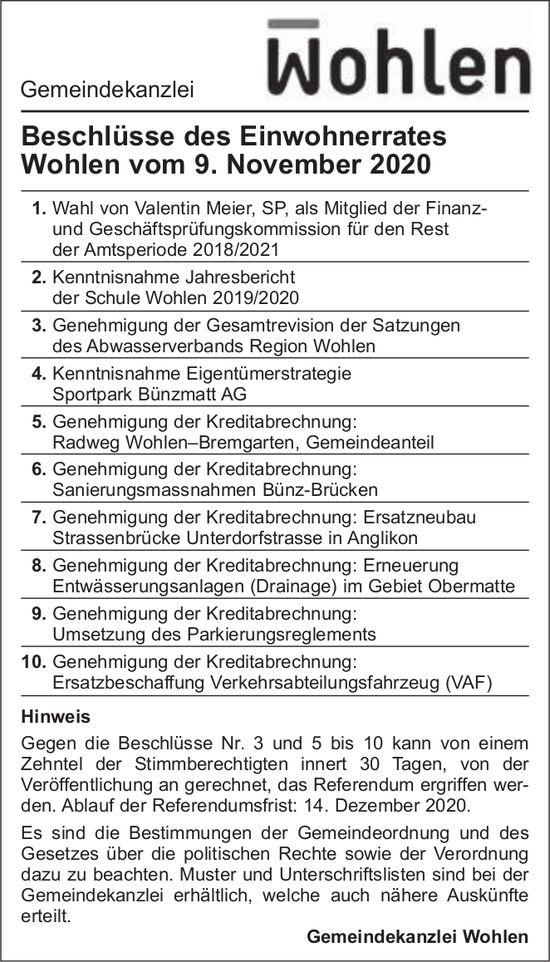 Beschlüsse des Einwohnerrates Wohlen vom 9. November 2020