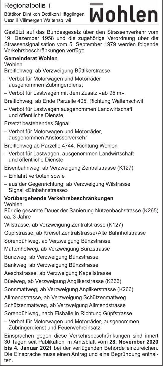 Gemeinde Wohlen - Mitteilungen Regionalpolizei