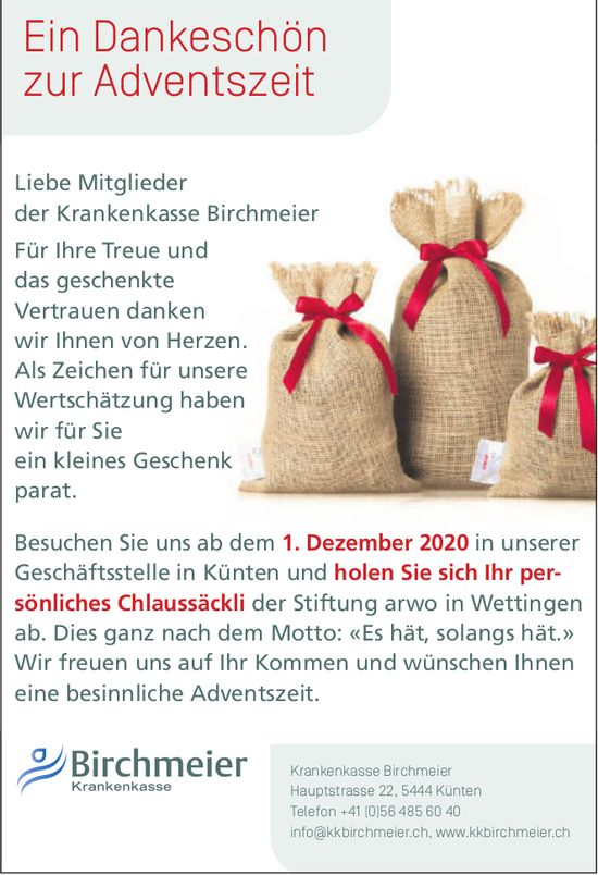 Krankenkasse Birchmeier - Ein Dankeschön zur Adventszeit