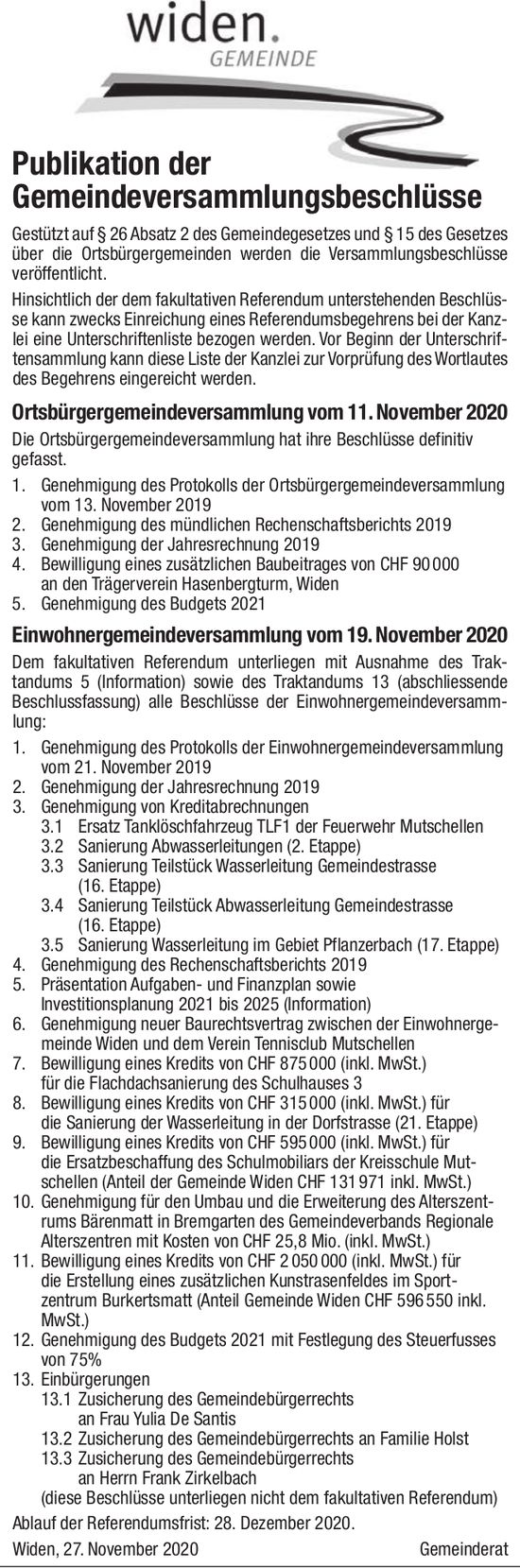 Bremgarten - Publikation der Gemeindeversammlungsbeschlüsse