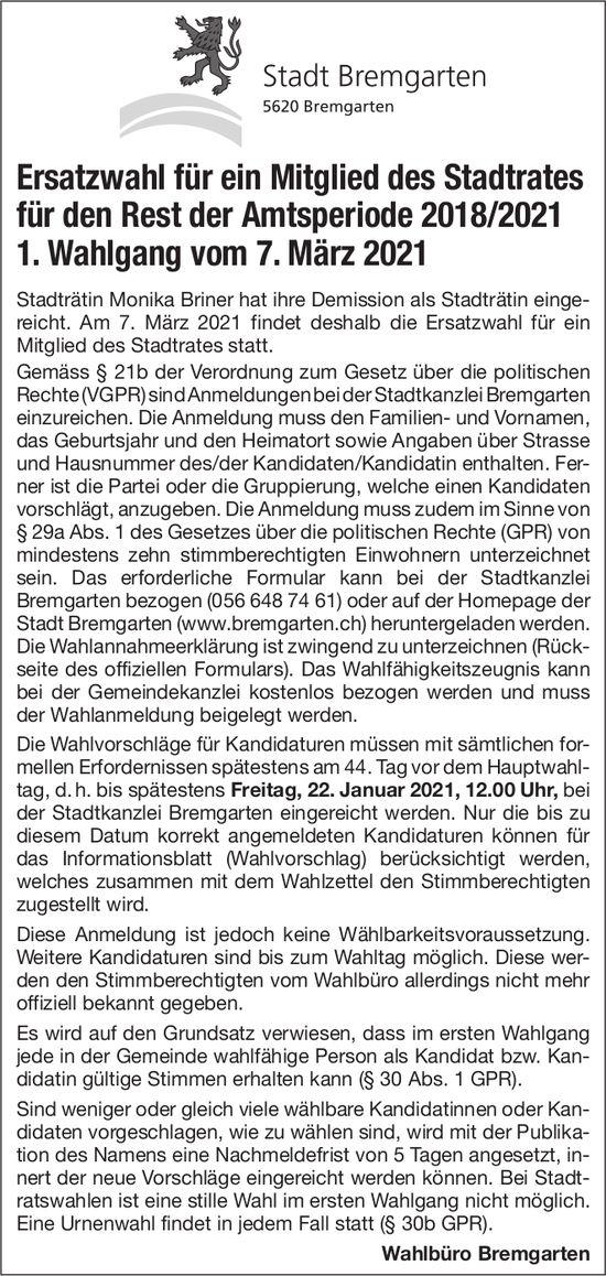 Stadt Bremgarten - Ersatzwahl für ein Mitglied des Stadtrates