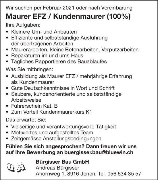 Maurer EFZ / Kundenmaurer (100%) bei Bürgisser Bau GmbH, Jonen, gesucht