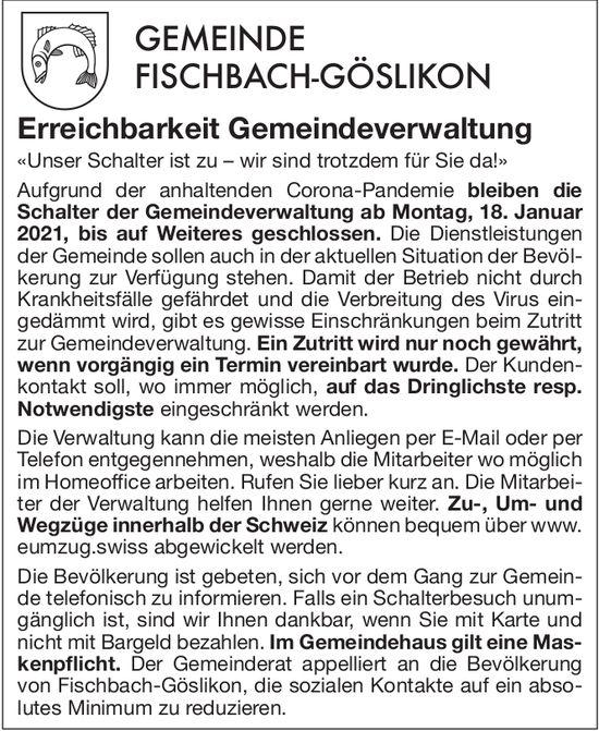 Erreichbarkeit Gemeindeverwaltung Fischbach-Göslikon
