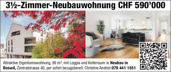 3½-Zimmer-Neubauwohnung in Boswil zu verkaufen
