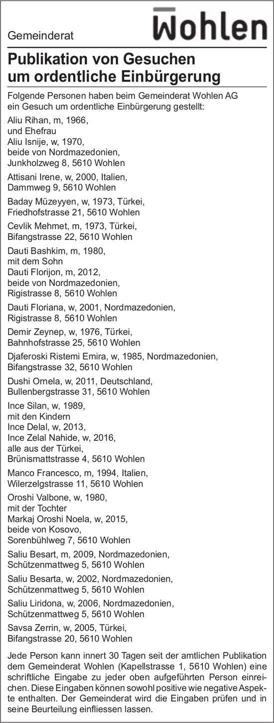 Gemeinde Wohlen - Publikation von Gesuchen um ordentliche Einbürgerung