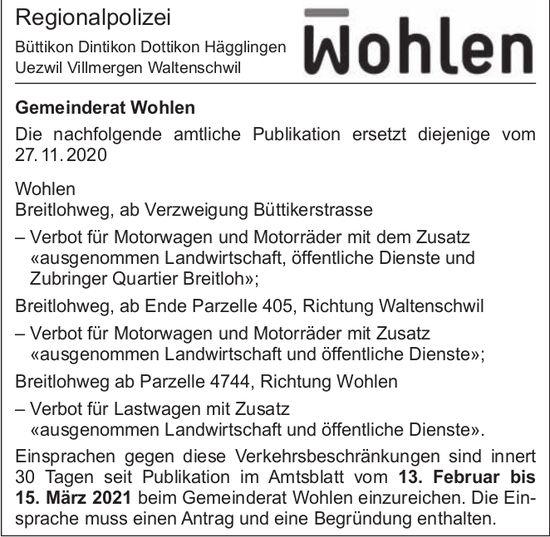 Gemeinde Wohlen - Verbote