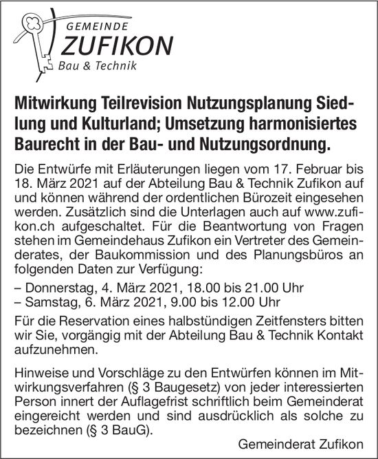 Mitwirkung Teilrevision Nutzungsplanung - Gemeinde Zufikon