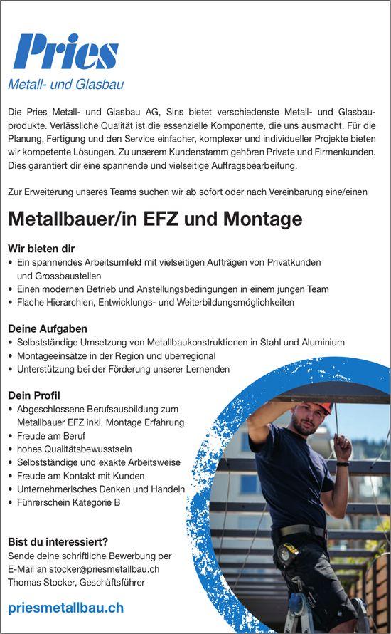 Metallbauer/in EFZ und Montage gesucht