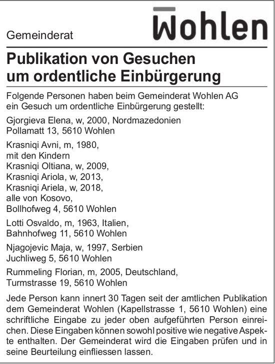 Gemeinde Wohlen, Publikation von Gesuchen um ordentliche Einbürgerung