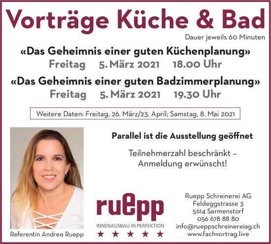 Vorträge Küche & Bad am 5. März - Ruepp Schreinerei AG Sarmenstorf