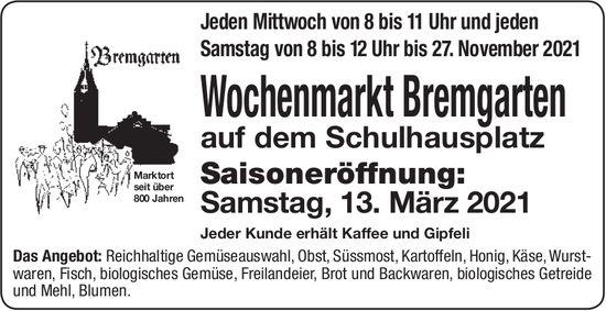 Bremgarten - Wochenmarkt Bremgarten ab 13. März