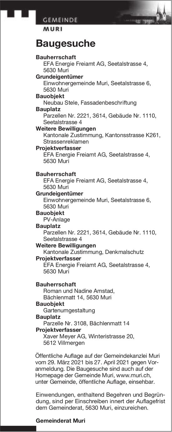 Building applications, Gemeinde Muri, Baugesuche