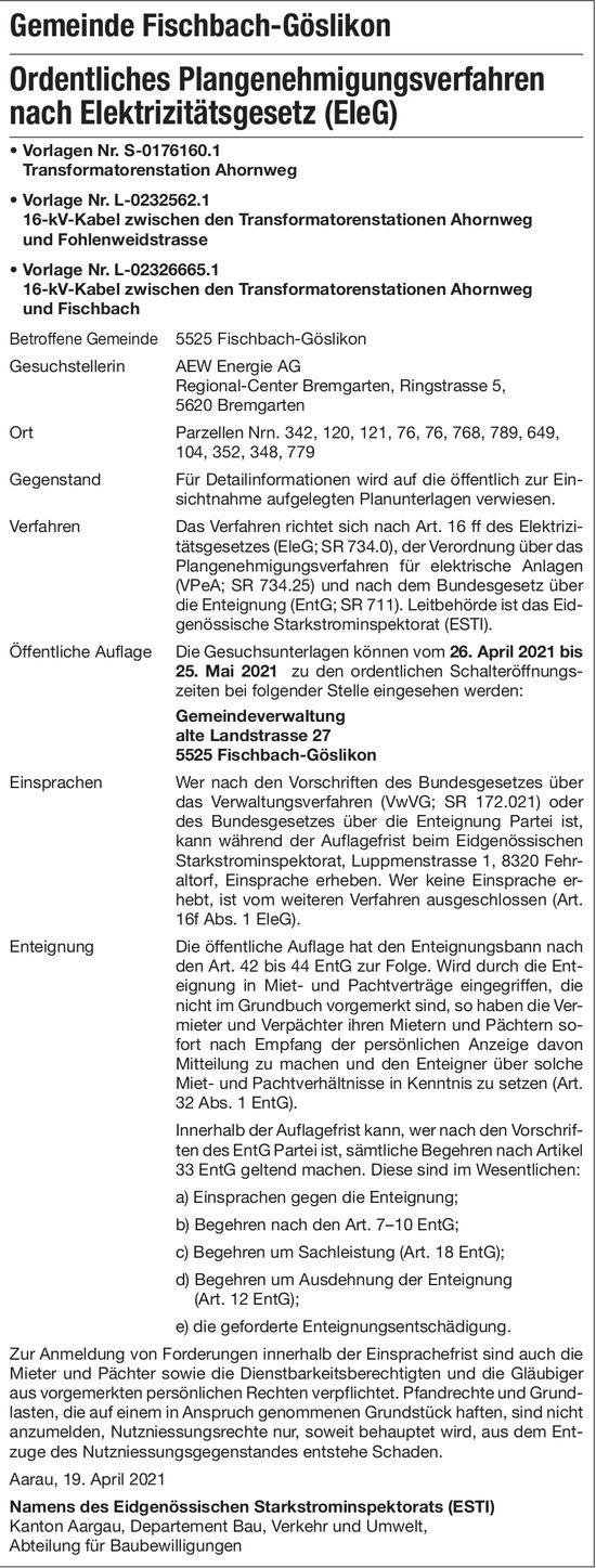Gemeinde Fischbach - Ordentliches Plangenehmigungsverfahren nach EleG