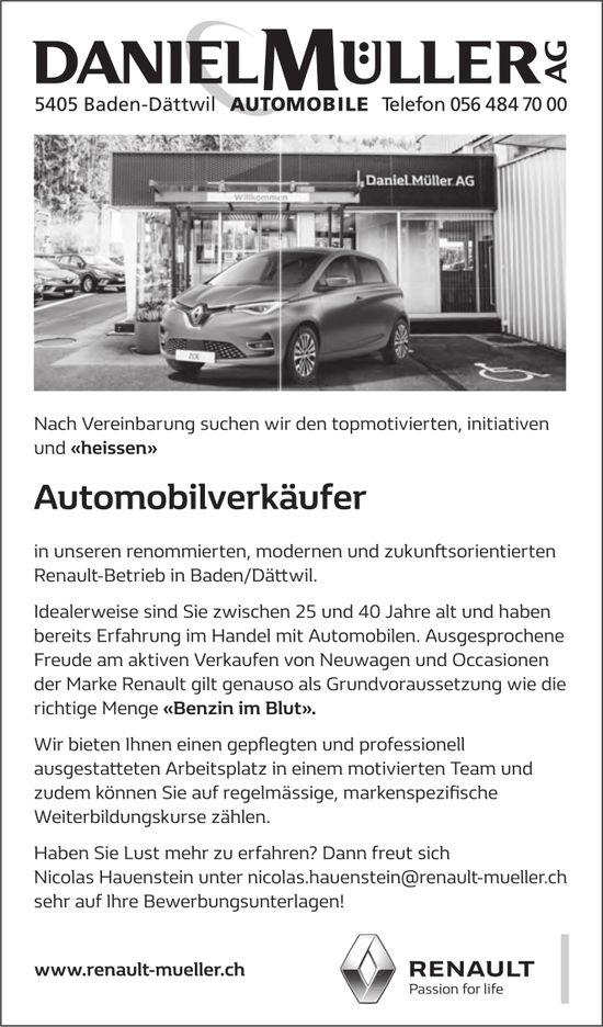 Automobilverkäufer bei Daniel Müller AG gesucht