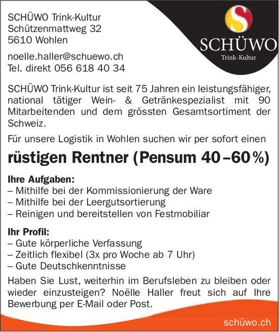 Rüstigen Rentner (Pensum 40 –60 %), Schüwo, Wohlen, gesucht