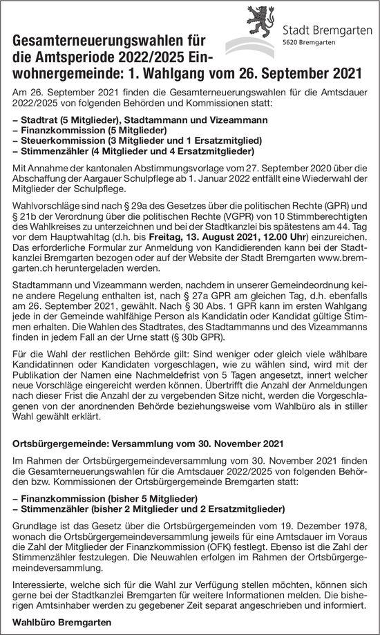 Gesamterneuerungswahlen - Stadt Bremgarten