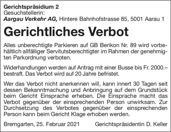 Gerichtspräsidium 2 Bremgarten - Gerichtlicher Verbot in Berikon