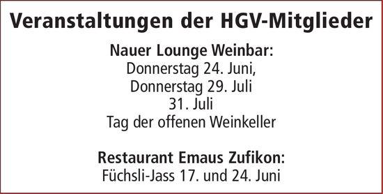 Veranstaltungen der HGV-Mitglieder, 24. Juni, Nauer Lounge Weinbar