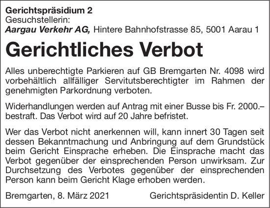 Bremgarten - Aargau Verkehr AG, Gerichtliches Verbot