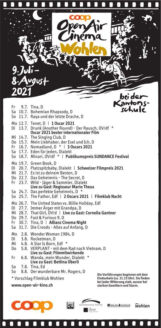 Open Air Cinema, 9. Juli bis 8. August, bei der Kantonsschule, Wohlen