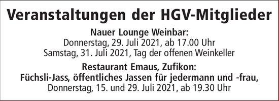 Veranstaltungen der HGV-Mitglieder, 15. bis 31. Juli, Nauer Lounge Weinbar und Rest. Emaus