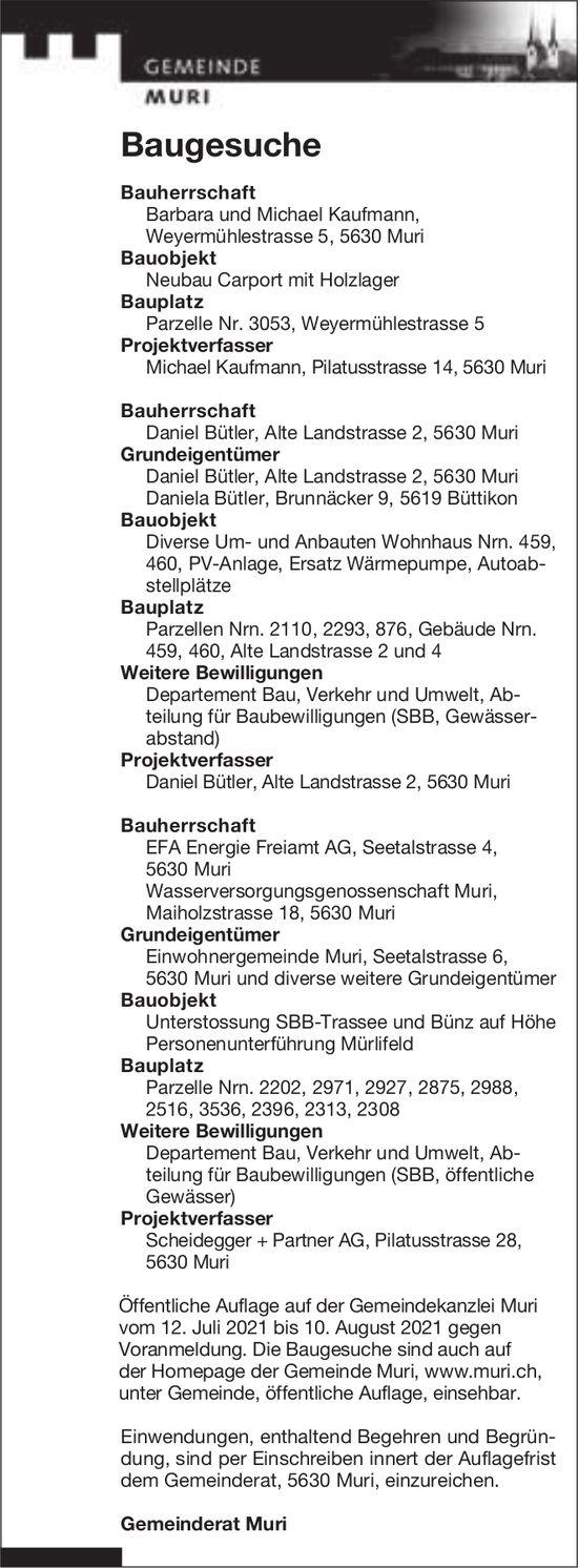 Baugesuche, Muri - EFA Energie Freiamt AG, Baugesuche