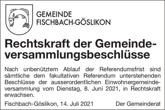 Fischbach-Göslikon - Rechtskraft der Gemeindeversammlungsbeschlüsse