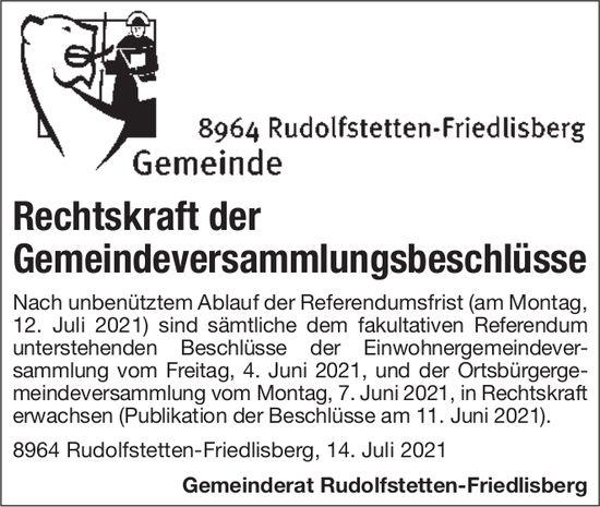 Rudolfstetten-Friedlisberg - Rechtskraft der Gemeindeversammlungsbeschlüsse